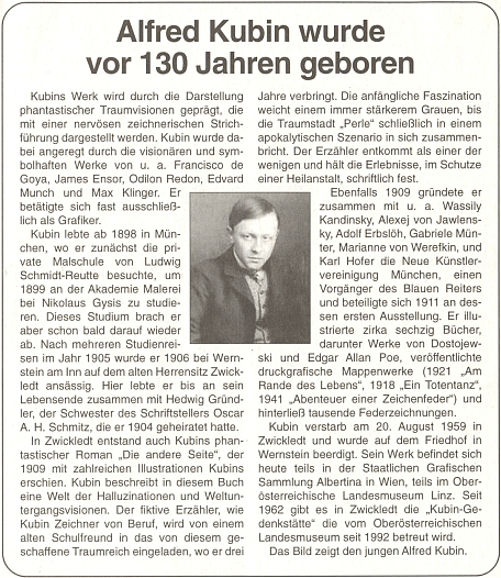 Článek k 13. výročí jeho úmrtí ve čtrnáctideníku rakouského krajanského sdružení