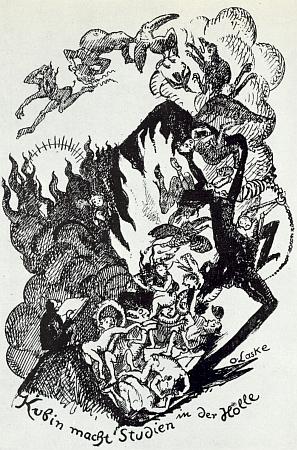"""Kresba, jejímž autorem je Oskar Laske (1874-1951) má titul """"Kubin činí studie v pekle"""""""