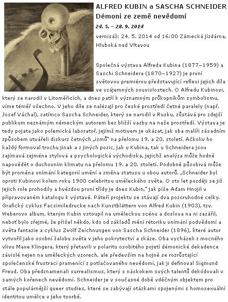 Anotace výstavy Alfred Kubin a Sascha Schneider: Démoni ze země nevědomí, kterou v roce 2014 uspořádala Alšova jihočeská galerie