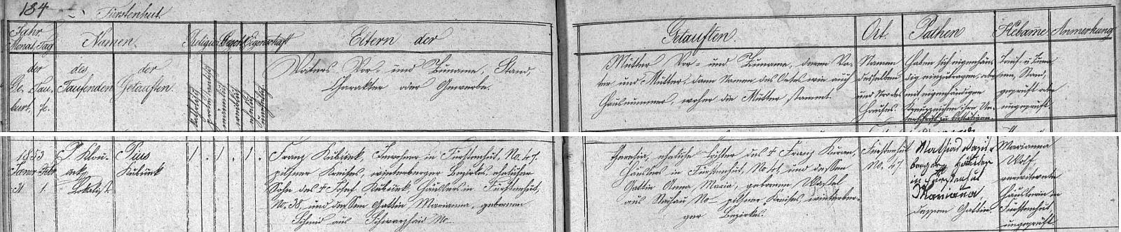 """Narodil se 9. srpna roku 1852 na čp. 38 v Knížecích Pláních Jakobu Kubíčkovi (písmeno """"j"""" figuruje v příjmení namísto pozdějšího """"í""""), jehož otec Josef byl zdejším chalupníkem v témže stavení, matka Marie Anna byla pak roz. Schmidtová z Černých Lad (Schwarzhaid) u Nového Světa (Neugebäu), a jeho ženě Marii Anně, dceři Jakoba Edera z Knížecích Plání čp. 12 a Marie Anny, roz. Harantové rovněž z Knížecích Plání"""