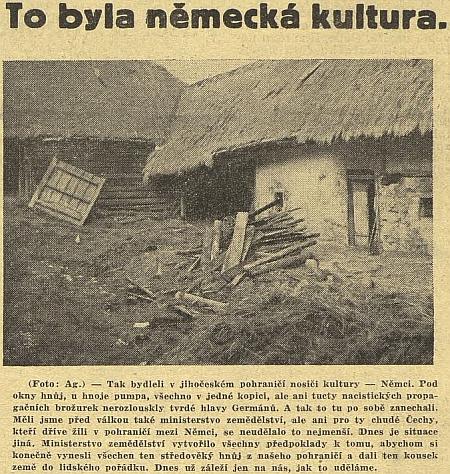 O chudé Šumavě na stránkách komunistických novin  z roku 1946 - prý dají ten kousek země do lidského pořádku...