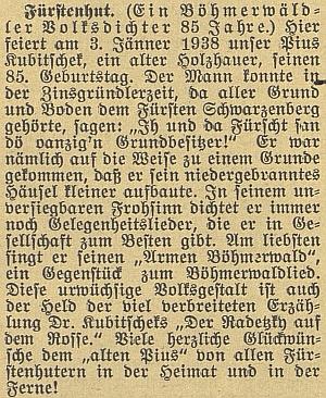 Budějovický německý list připomněl v roce 1937 jeho pětaosmdesátiny