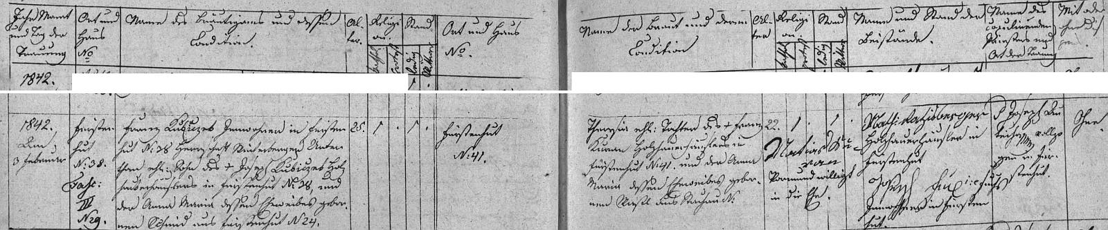 Záznam oddací matriky farní obce Knížecí Pláně o svatbě rodičů