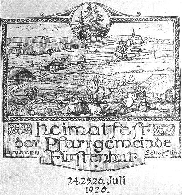 Pozvánka na místní slavnost farní obce Knížecí Pláně: chalupa, kde žil Pius Kubitschek, je přímo pod smrky v kruhu nahoře