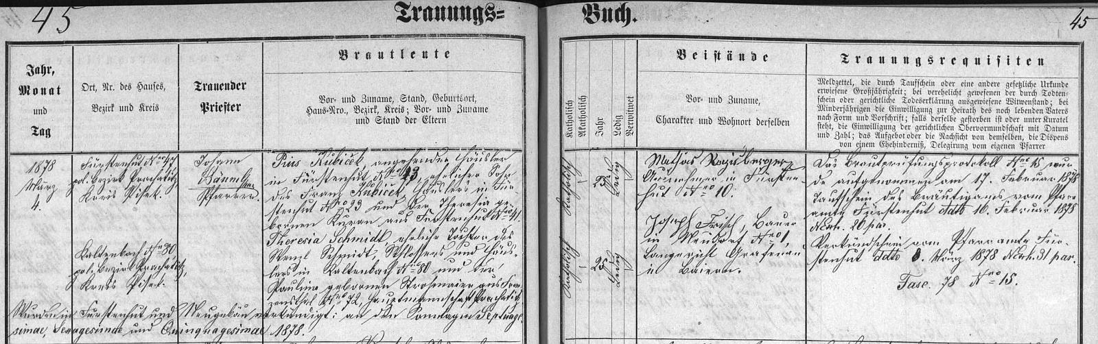 """Farář Johann Bäuml, který sem na Nový Svět (Neugebäu) přišel farářovat roku 1870 z Jablonce (Ogfolderhaid), kde byl pouhým kaplanem, oddal tu v dnes už také neexistujícím kostele sv. Martina Pia, psaného zde krátce, ale s háčkem """"Kubiček"""", dne 4. března roku 1878 s Theresií Schmidtovou, jejíž matka Paulina je tu už uvedena nikoli původem z Pivního Hrnce, ale z Františkova (Franzensthal)"""