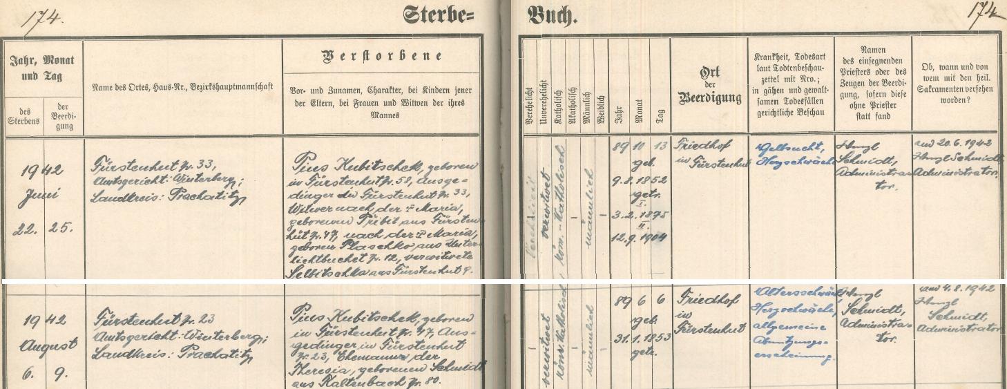 Záznam o jeho úmrtí (ten spodní) v knize zemřelých Knížecích Plání, jeho jmenovec a vrstevník ve vsi jej i ve smrti předešel o několik týdnů (hornízáznam)