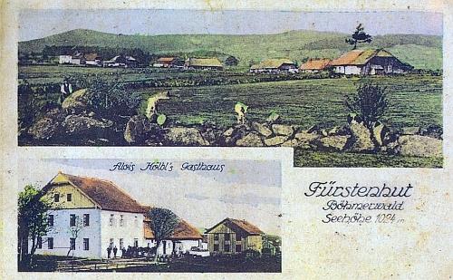 Knížecí Pláně na staré kolorované pohlednici (viz i Franz Strunz)