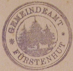 Razítko obecního úřadu v Knížecích Pláních, uchované v kronice obce z let 1902-1933