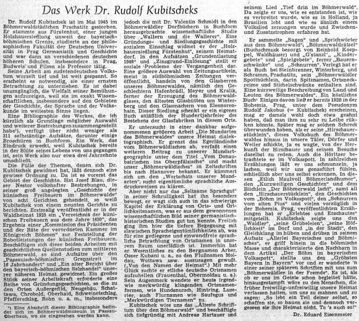 K 10. výročí jeho úmrtí uveřejnil ústřední list vyhnaných krajanů v roce 1955 tuto obsažnou stať Eduarda Eisenmeiera o Kubitschekově díle
