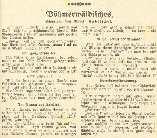 """Jeho šumavské anekdoty v kalendáři budějovického nakladatelství """"Moldavia"""" na rok 1943"""