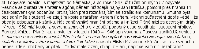 Zpráva o zániku obce Knížecí Pláně na českém turistickém serveru přináší i českou verzi textu jeho pijáckého exlibris