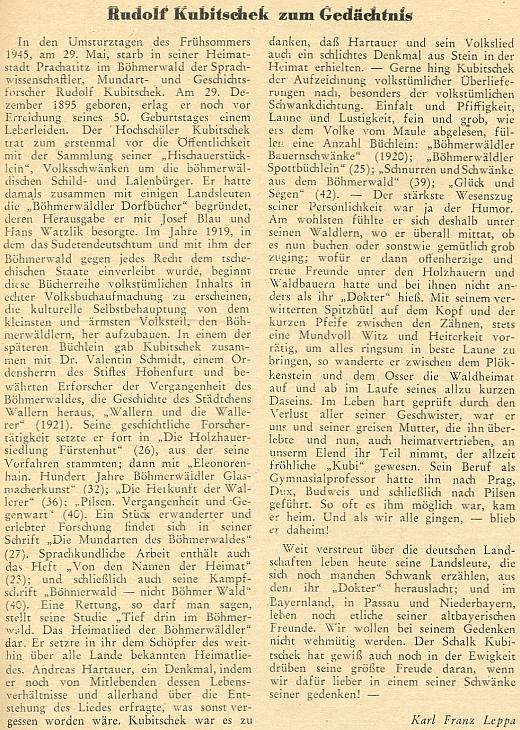 Pět let po jeho smrti se objevil v krajanském měsíčníku tento opožděný nekrolog, který napsal Karl Franz Leppa