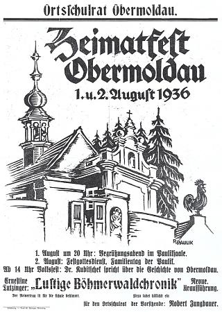 """Plakát """"domovské slavnosti"""" v Horní Vltavici v srpnu 1936, kterou organizoval ve zdejším hostinci u Pauliků (matka byla roz. Pauliková) a kde zazněla i píseň o """"mužích z Knížecích Plání"""", která je součástí jeho exlibris"""