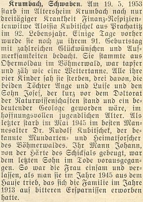 Nepodepsaný nekrolog jeho maminky, která musila přežít všechny své čtyři děti, na stránkách krajanského měsíčníku v roce 1953