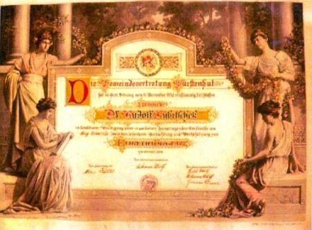 Diplom čestného občanství Knížecích Plání z jeho pozůstalosti, uchovávaný ve Státním okresním archívu v Prachaticích