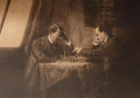 Lenin s Hitlerem při partii šachu ve Vídni roku 1909 na grafice židovské malířky Emmy Löwenstammové (1879-1941), rodačky z Náchoda,     která prý Hitlerovi poskytla umělecké školení a přivedla ho s Leninem do ateliéru Dr.Julia von Ludassyho, kde je zachytila při hře