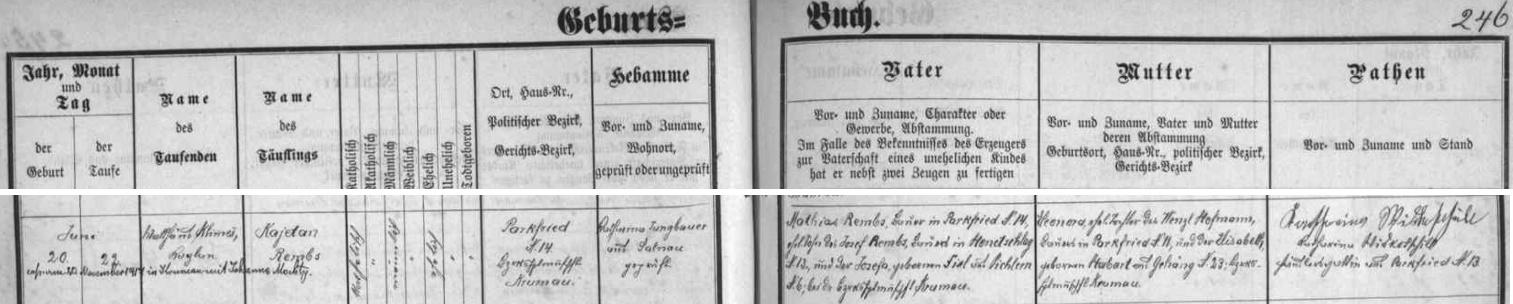 Záznam křestní matriky farní obce Želnava o narození jejího otce Kajetana Rembse v Parkfriedu (dnes Bělá) čp. 14 spřípisem o jeho svatbě s Johannou Mochtyovou