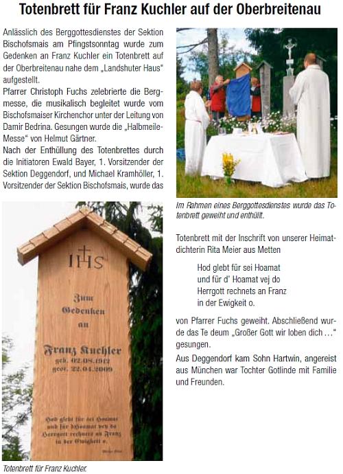 Zpráva o odhalení umrlčího prkna k jeho památce blízko Landshutského domu na Oberbreitenau