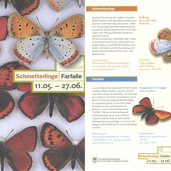 Dvojjazyčná pozvánka (2004) na výstavu z jeho sbírek v jihotyroském Bolzanu