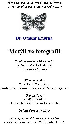 Pozvánka na výstavu jeho fotografií v Jihočeské (tehdy ještě Státní) vědecké knihovně (2001)