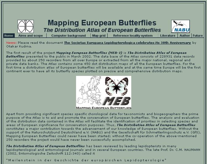 Webová stránka projektu Mapování evropských motýlů