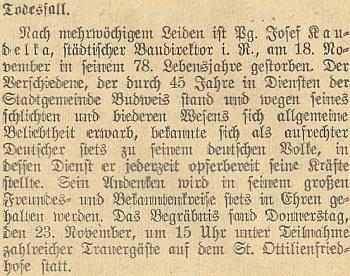 """Nekrolog Josefa Kaudelky, označeného zde jako """"Parteigenosse"""", tj. straník (myšleno člen NSDAP)"""