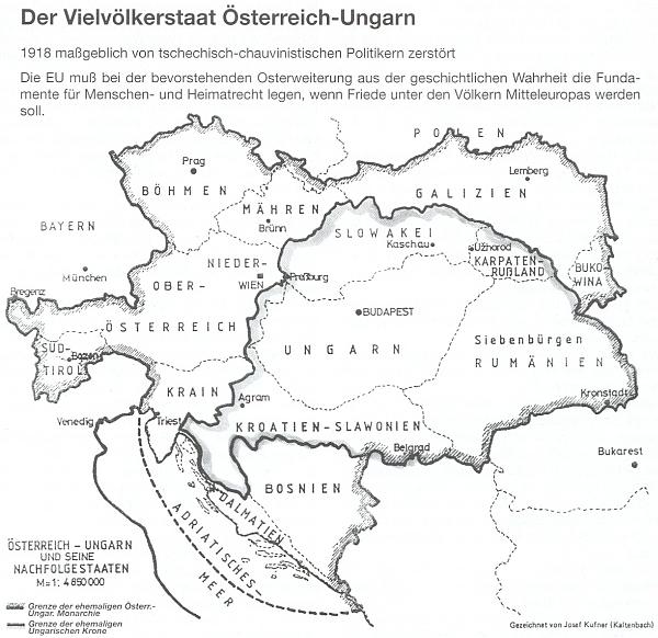 """Mnohonárodnostní stát Rakousko-Uhersko na jím nakreslené mapě s hrdým označením """"kaltenbašského"""" vlastního původu"""
