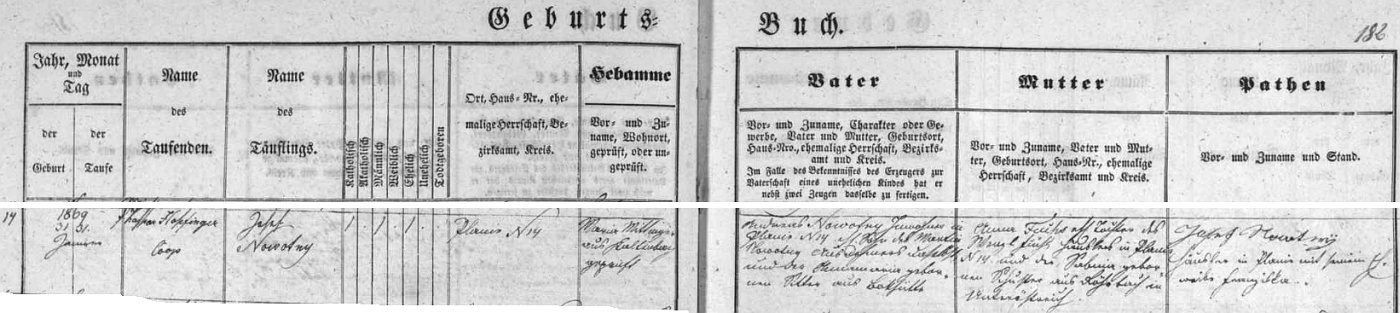 """Tady je """"Kilianův otec"""" psán spolu se záznamy o dalších předcích v novosvětské matrice německy Nowotny, kmotr při křtu dokonce Nowotnÿ"""
