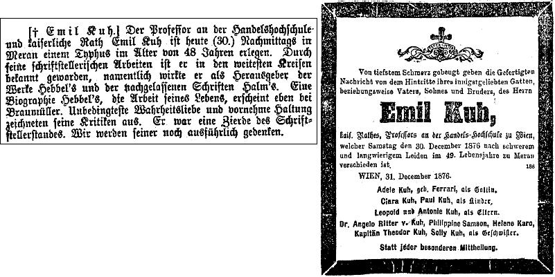 Parte a úmrtní oznámení ve vídeňském tisku