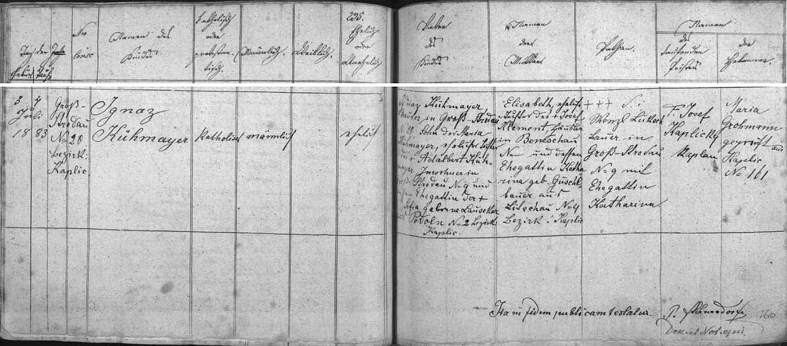 V Kaplici ho křtil kaplan P. Josef Kaplický, narodil se však 3. července 1883 v blízkém Stradově čp. 20 rolníku Ignazi Kühmayerovi (nemanželskému synovi Marie Kühmayerové, manželské dcery Adalberta Kühmayera ze Stradova čp. 9 ajeho ženy Sofie, roz. Lausekerové, ze zaniklého dnes Podolí) a jeho manželce Elisabeth, dceři Josefa Klementa, chalupníka v Benešově (zřejmě jde o Německý Benešov, dnes Benešov nad Černou) a jeho ženy Kathariny, roz. Guschlbauerové, z Ličova čp. 4, okr. Kaplice
