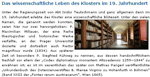 Takto se o něm zmiňuje na klášterním webu německý text o vědeckém životě vyšebrodského kláštera v 19. století