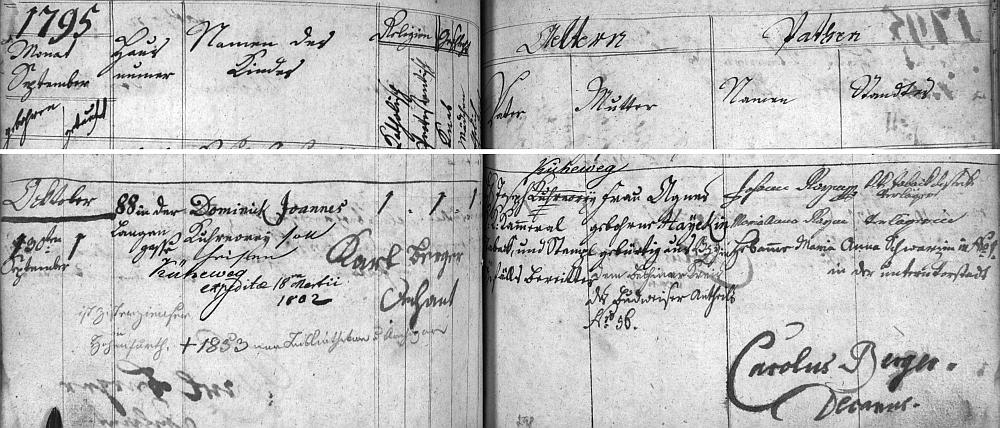 Záznam o jeho narození v chomutovské křestní matrice