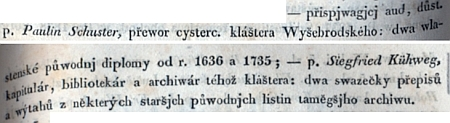"""Tady """"Časopis českého Museum"""" zaznamenává v roce 1838, jak Paulin Schuster a Siegfried Kühweg přispěli muzejní sbírce rukopisů, listin a rytin"""