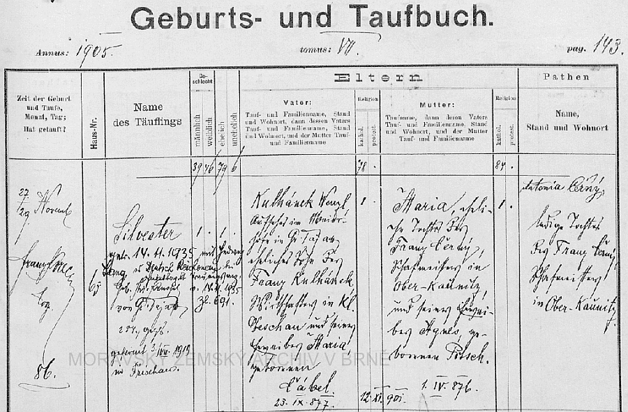 Záznam o jeho narození v dyjákovické křestní matrice s přípisem o svatbě s Hedwig Langovou 14. listopadu 1935 v Rychnůvku