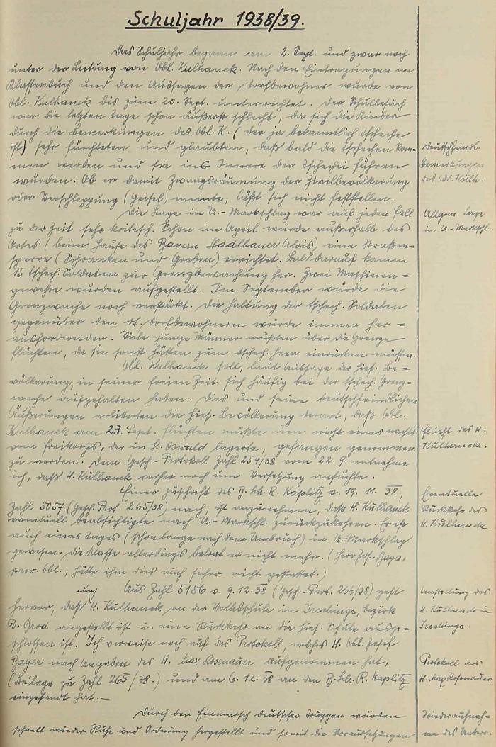 Stránka školní kroniky, zachycující dramatický konec jeho působení v Dolním Markschlagu