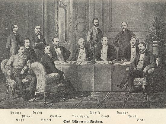 """Asi nejvýznamnější příslušník šlechtického rodu Taaffeů Eduard Taaffe (1833-1895), zde na snímku tzv. """"občanského ministerstva"""" z roku 1867 stojící druhý zprava"""