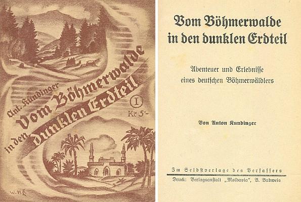 """Obálka se signaturou malíře Williho Herziga a titulní list jeho knihy (1937) vydané v českobudějovickém nakladatelství """"Moldavia"""""""