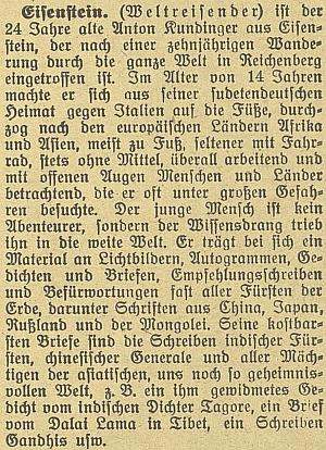 Takto o něm psal českobudějovický německý list v roce 1929