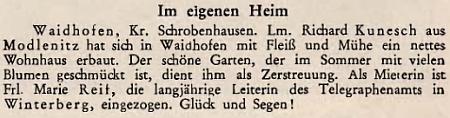 Takto krajanský časopis informoval o tom, že se srodinou přestěhoval dovlastního domu ve Waidhofenu