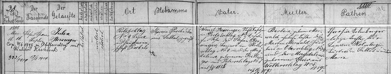 Záznam prachatické křestní matriky o narození jeho ženy v Perlovicích s pozdějším přípisem o jejich svatbě