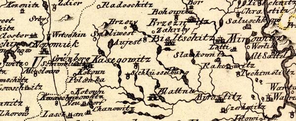 Rodné Lnáře (Schlüsselburg), jak jejich polohu zachytila mapa z 18. století