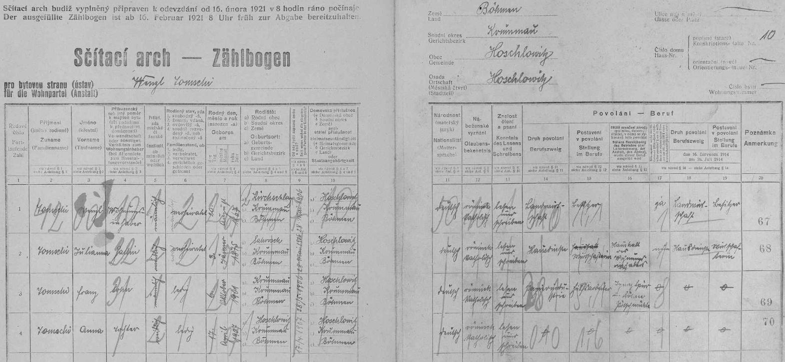 Arch sčítání lidu z roku 1921 pro stavení čp. 10 v Hašlovicích s rodinou jejího děda z otcovy strany (jeho syn a její otec Adolf na archu zaznamenán není)