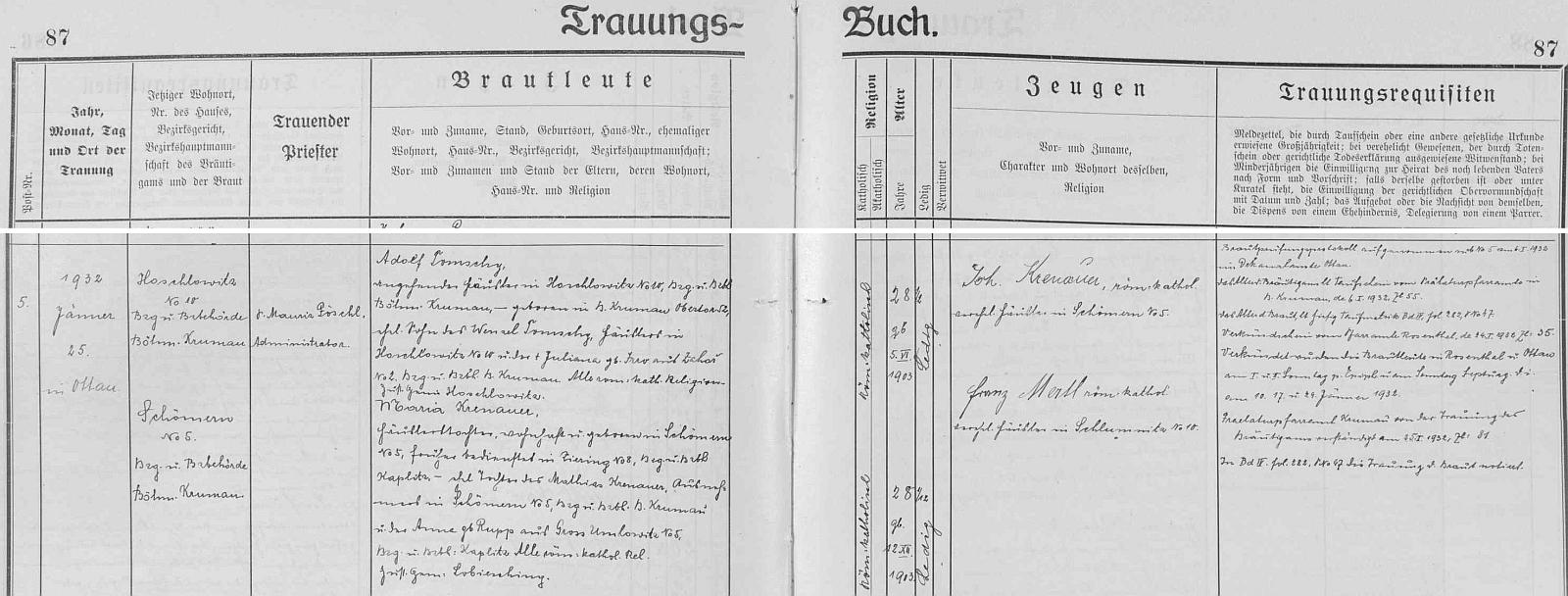Záznam zátoňské oddací matriky o svatbě jejích rodičů ve zdejším kostele, jednom z nejpamátnějších na Šumavě vůbec
