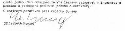 Závěr dopisu Elisabeth Kunze autorům souboru Kohoutí kříž