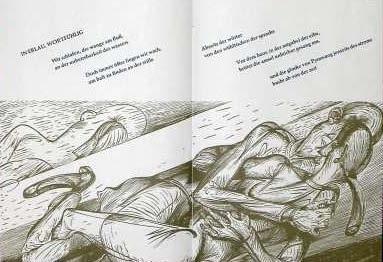 """Ilustrace Karla Georga Hirsche ke Kunzeově básni """"In Erlau wortfühlig"""" v jejím bibliofilském vydání (2007)"""