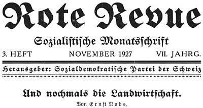 """Záhlaví listu """"Rote Revue""""  s článkem citujícím z jeho knihy"""