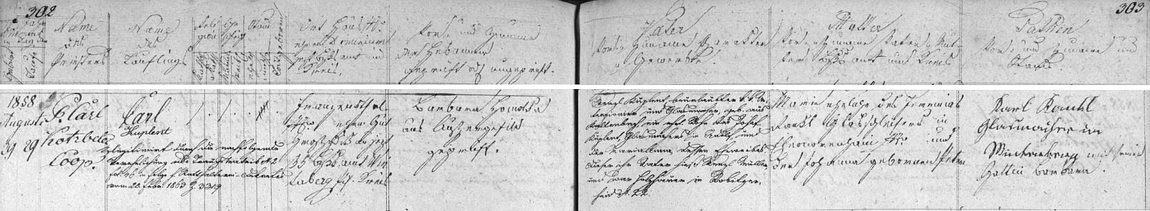 Záznam kvildské křestní matriky o narození jeho otce ve Františkově s dodatečným přípisem o legitimizaci tohoto nemanželského syna Marie (1832-1913), dcery lenorského brusiče skla Jeremiase Rankla a a Johanny, roz. Peterové, jejím sňatkem s Wenzlem Kuplentem (1834-1905) o více než čtyři roky později