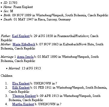 """Jeho """"rozrod"""" na genealogickém webu, kde se dají najít i další jeho většinou sklářští předkové"""
