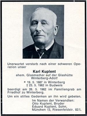 Parte jeho bratra Karla, který zemřel 23. května roku 1962 v Českých Budějovicích