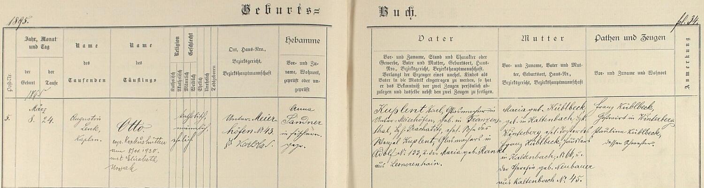 Záznam o jeho narození a křtu v matrice farní obce Dvory